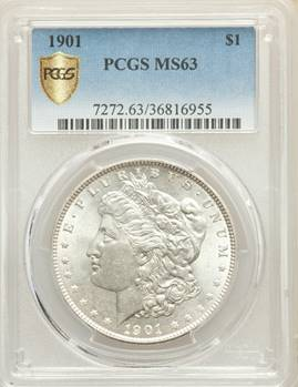 Choice Mint State 1901 Morgan Dollar PCGS MS63
