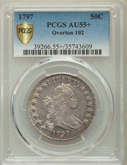 Eye Appealing, VERY RARE – 1797 Draped Bust Half Dollar PCGS AU55+