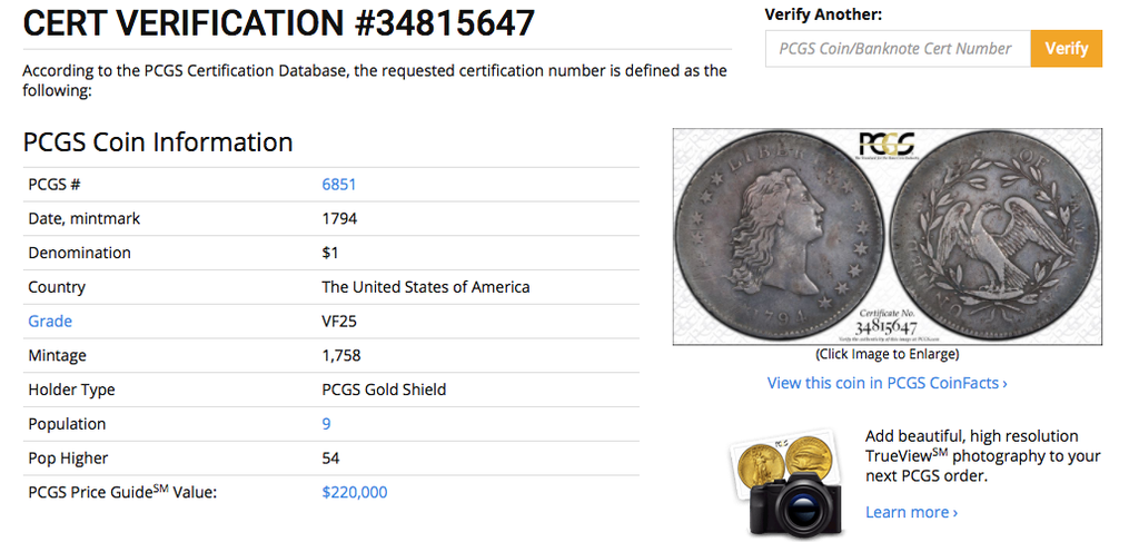 First Year U.S. Silver Dollar – 1794 Flowing Hair Dollar PCGS VF25