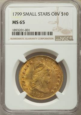 Gem 1799 Small Stars Obverse Heraldic Eagle  NGC MS65