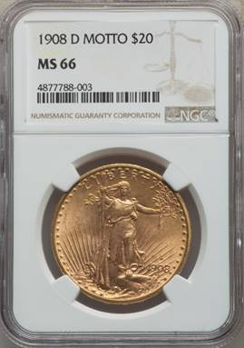 Gem 1908-D Motto Saint Gaudens Double Eagle NGC MS66