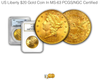 Image of U.S. Liberty $20 Gold Coin In MS-63 PCGS/NGC Certified