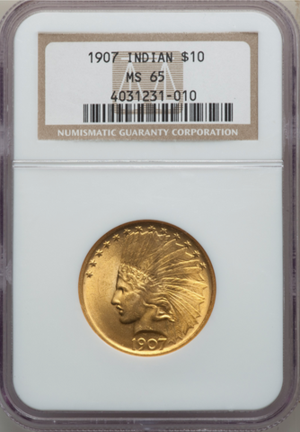 1907 No Motto Indian Eagle NGC MS65