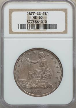 Highest Graded at NGC - 1877-CC Trade Dollar NGC MS65