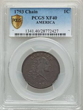 Immensely Popular 1793 AMERICA Chain Cent PCGS XF40
