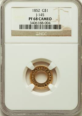 It's All There, Really – 1852 Pattern Gold Dollar J-145  NGC PR68 Cameo