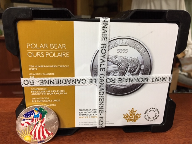 2018 1/2 oz Canadian Polar Bear .9999 Pure Fine Silver Coin - Royal Canadian Mint - Call While Supplies Are Available Only $11.65 per coin.