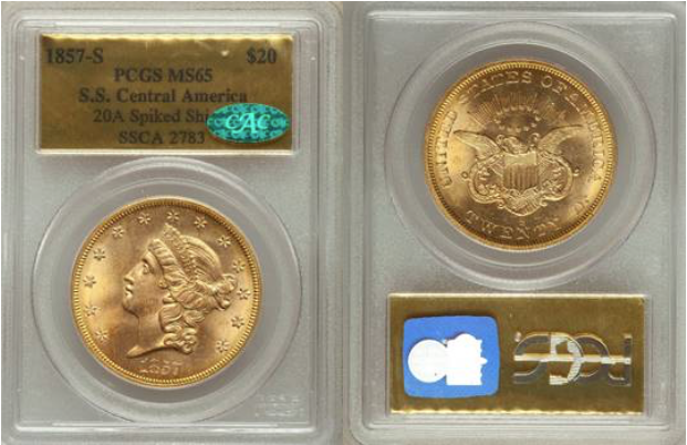 S.S. Central America 1857-S Liberty Double Eagle  PCGS/CAC MS65
