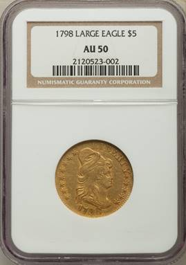 Rare 1798 Draped Bust Large Eagle Half Eagle NGC AU50