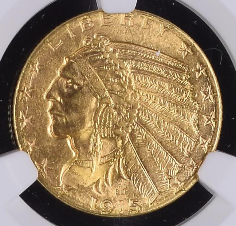 Rare, Near Gem S-Mint $5 Indian – 1915-S Indian Half Eagle NGC MS64