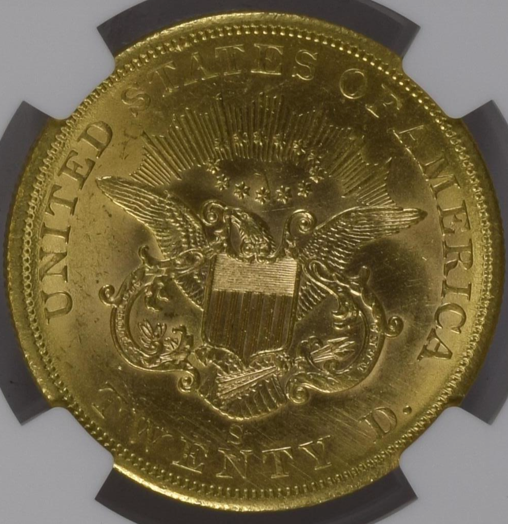 Rare Uncirculated 1858-S Liberty Double Eagle NGC MS62