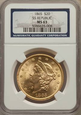 S.S. Republic, Civil War Date 1865 Liberty Double Eagle  NGC MS63