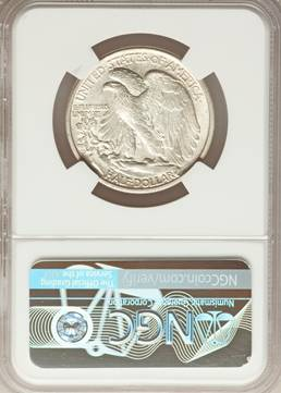 """S"" on Obverse - 1917-S Obverse Walking Liberty Half Dollar NGC MS65"
