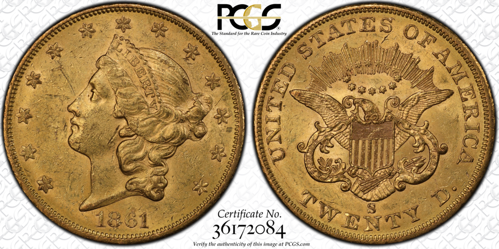 San Fran $20 Civil War Issue – 1861-S Liberty Double Eagle PCGS MS61