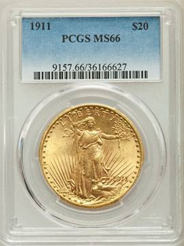 Satiny Sashaying Saint – 1911 Saint Gaudens Double Eagle PCGS MS66