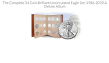 Image of The Complete Silver Eagle Set: 1986 - 2019 with Deluxe Album + The 2020 (35) coins total - CALL to ORDER (1)