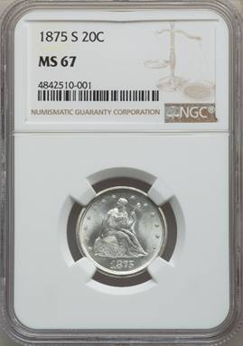 Superb 1875-S Twenty Cent Piece NGC MS67