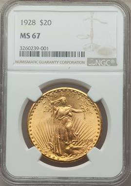 Superb and Satiny Saint – 1928 Saint Gaudens Double Eagle NGC MS67
