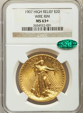 THE Most Beautiful U.S. Coin? 1907 Wire Rim $20 High Relief  NGC/CAC MS63+