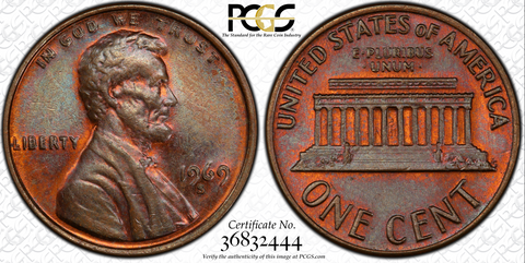 1969-S DDO Lincoln Cent PCGS/CAC MS63BN