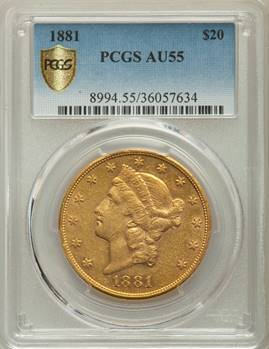 Very Rare $20 Lib – 1881 Liberty Double Eagle PCGS AU55
