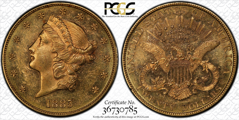 Very Rare Business Strike 1885 Liberty Double Eagle  PCGS MS61