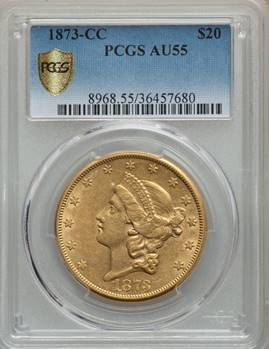 Very Rare CC $20 – 1873-CC Liberty Double Eagle PCGS AU55