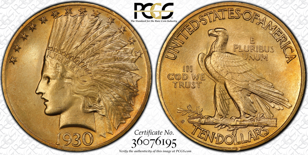 Very Rare Gem $10 Indian – 1930-S Indian Eagle PCGS MS65