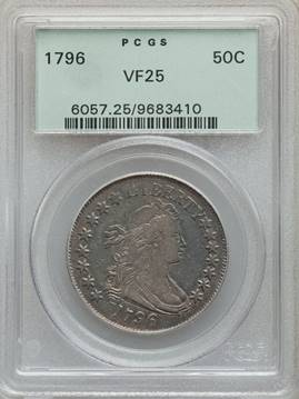Very Rare/Popular 2 Year Type 1796 Draped Bust Half Dollar PCGS VF25