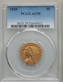 Vibrant $5 Indian Key - 1929 Indian Half Eagle PCGS AU55