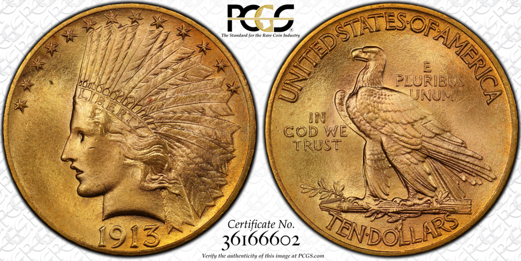 "You Can Be Lucky with this ""13"" – 1913 Indian Eagle  PCGS MS66"