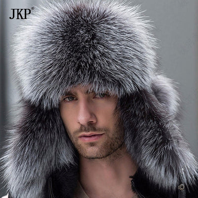 f7e8aa5bd0a5c Quick View · Russian leather bomber leather hat men winter hats with  earmuffs trapper earflap cap man real raccoon ...