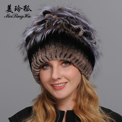 665df930313fd Quick View · Winter Fur Hat for Women Real Rex Rabbit Fur Hats with Silver  Fox Fur Flower Knitted ...