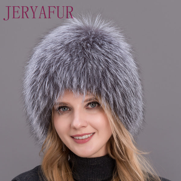 961a64a69cb 2017 Hot Sale 100% Natural Silver Fox Fur Women Winter Hat Knitted Cap  Women Hat Fox Fur Bomber Hat Female Ear Warm Winter Must