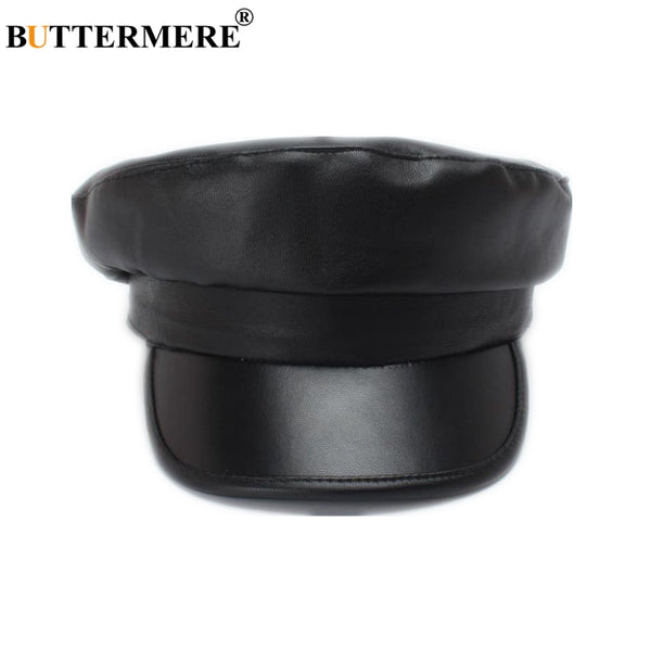 f4e82dd72bd BUTTERMERE Black Leather Military Hat Women Army Cap Ladies Baker Boy Hat  Spring Autumn Duckbill Female Newsboy Flat Top Hat