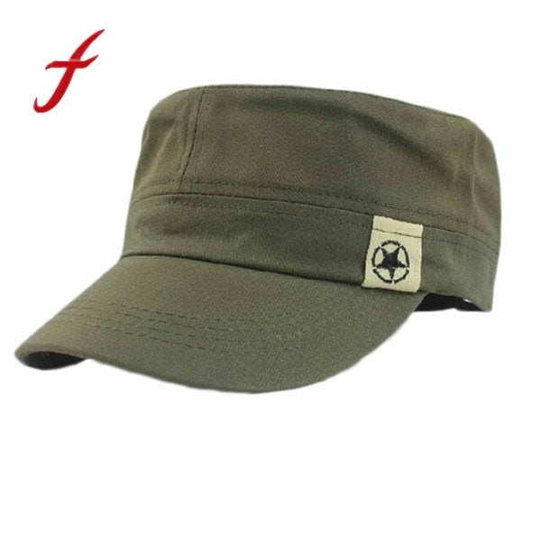 a04ebd74519 2017 NEW Fashion Mens Hat Unisex Women Men Flat Roof Military Hat Cadet  Patrol Bush Hat Baseball Field Cap Snapback Casual Caps
