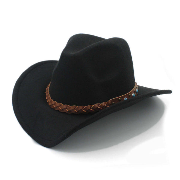 d5227c331527a Mistdawn Womem Men Wool Blend Wide Brim Western Cowboy Hats Cowgirl Jazz  Caps Turquoise Brown Leather Belt Band Size 56-58cm
