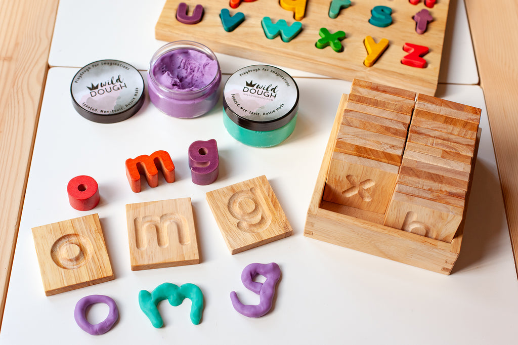 Wooden Lowercase Tracing Alphabet Tiles