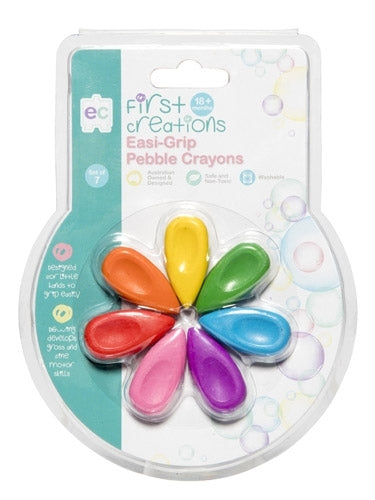 Easi-Grip Pebble Crayons - Set of 7