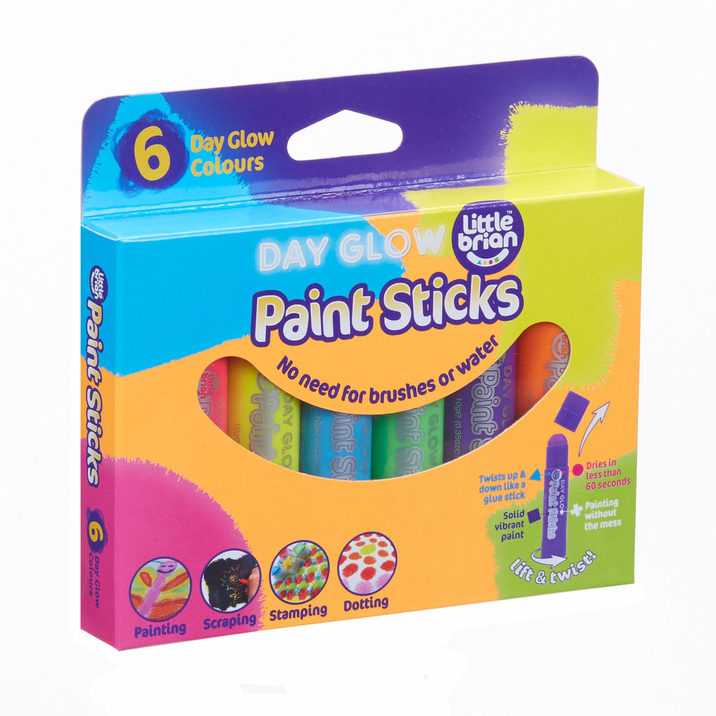 Day Glow 6 Paint Sticks | Little Brian