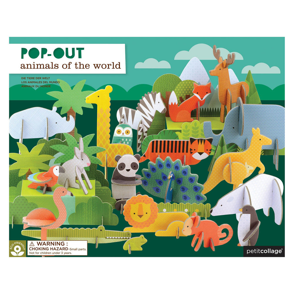 Petit Collage Pop Out Animals of the World Deluxe