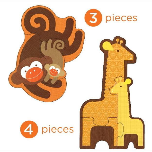 Petit Collage Puzzle - Safari Babies | Beginner