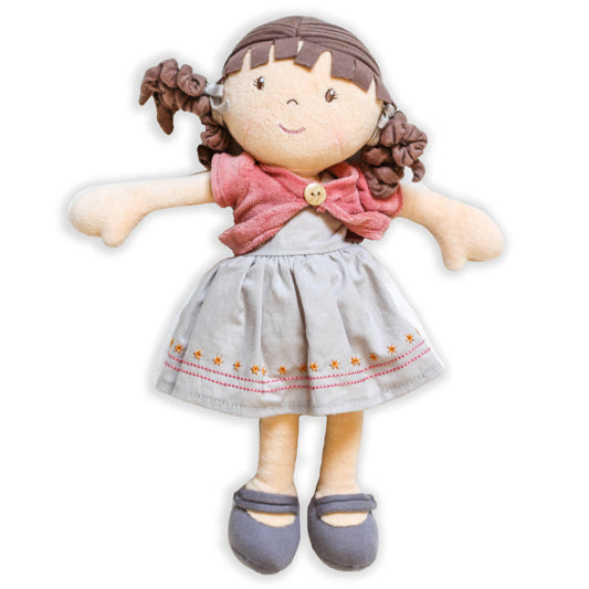 Organic Brown Haired Doll - Rose