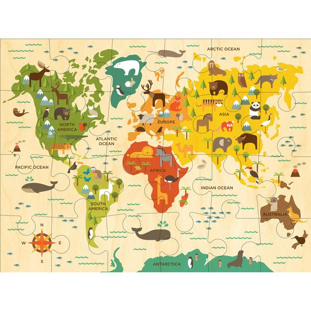 Petit Collage Floor Puzzle - World Map