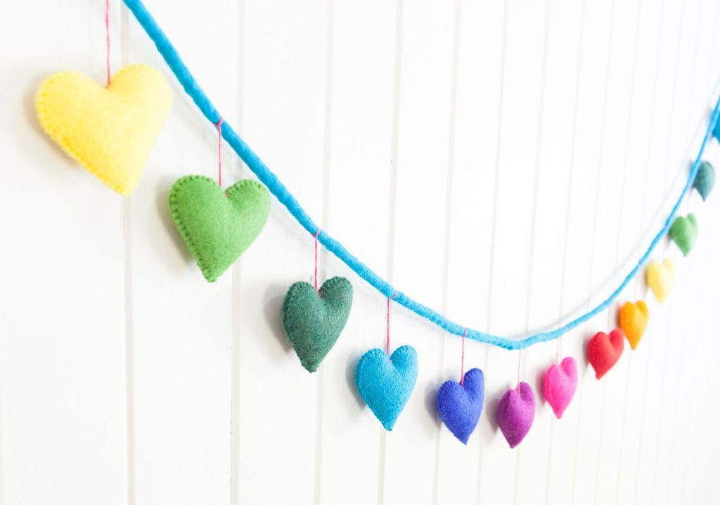 Felt Heart Garland - Rainbow