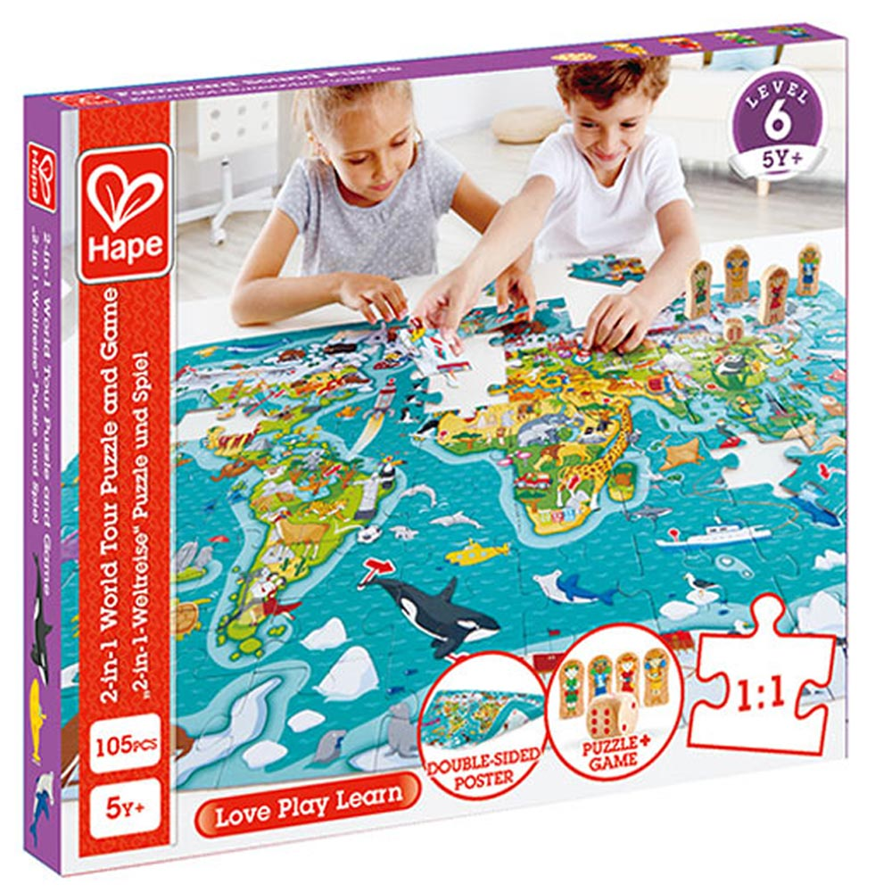 2-in-1 World Map Puzzle Game | Hape
