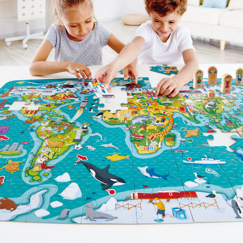 Hape 2-in-1 World Map Puzzle Game