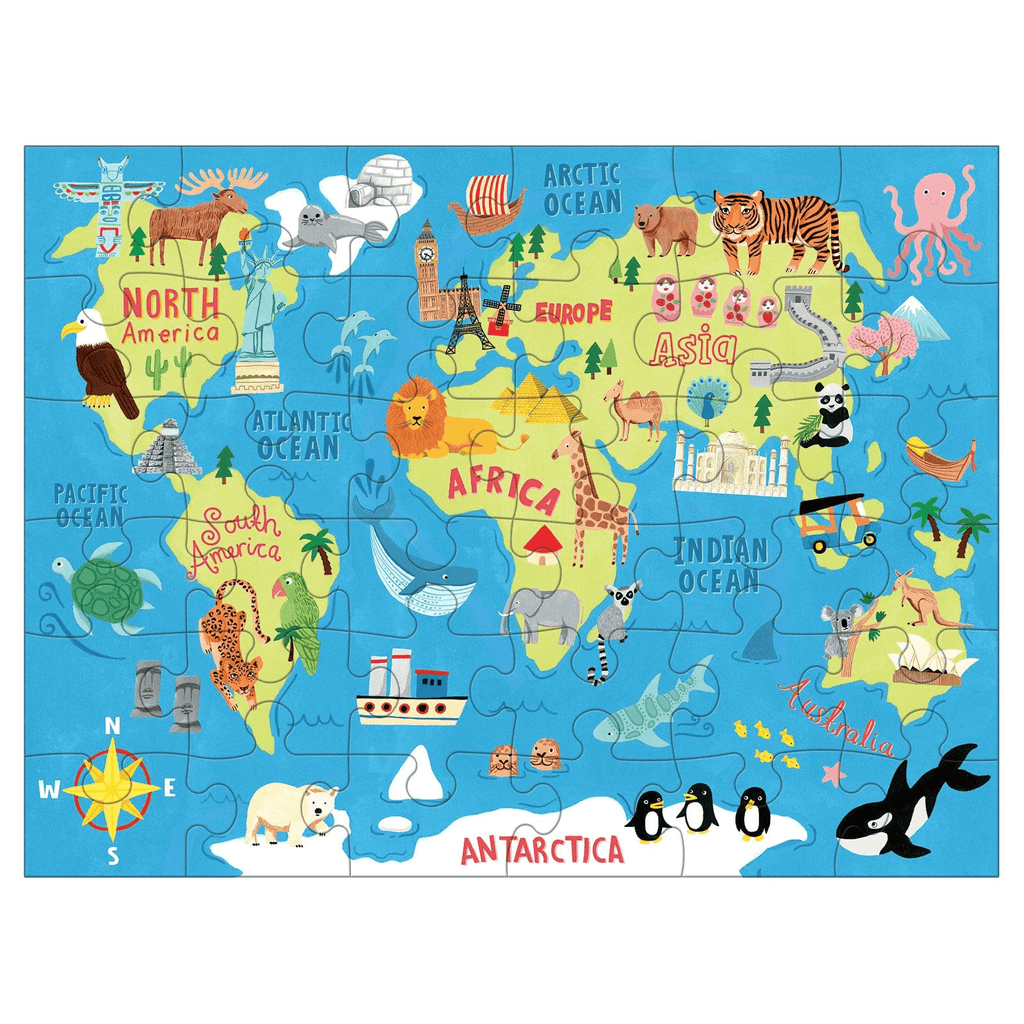 Map of the World 36pc Puzzle to Go - Mudpuppy