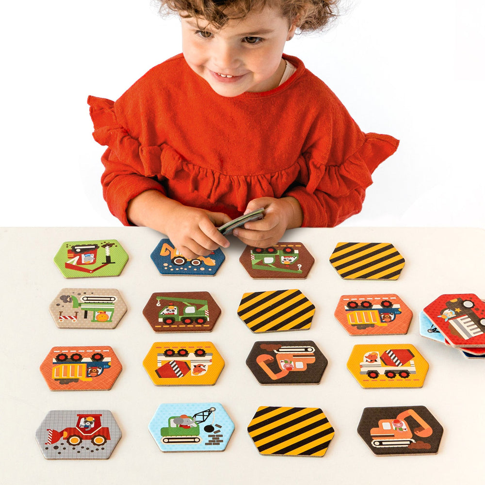 Petit Collage Memory Game - Construction Vehicles
