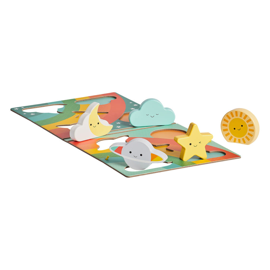 Rainbow Weather Chunky Wooden Puzzle | Petit Collage